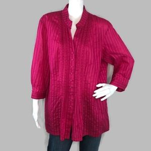 "Chico's Red Button Up Shirt Size 3 ""LARGE"""
